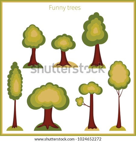 Collection of different cartoon trees. Vector illustration. Tree icons isolated on white background.