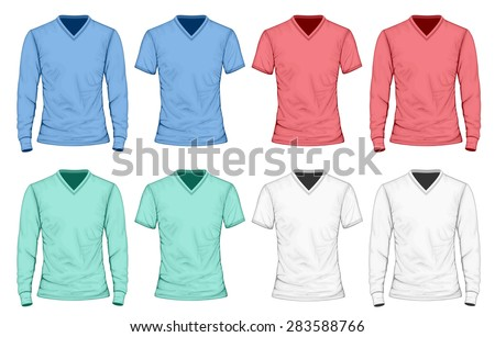 Collection of different color men's t-shirt long and short sleeve. Vector illustration.