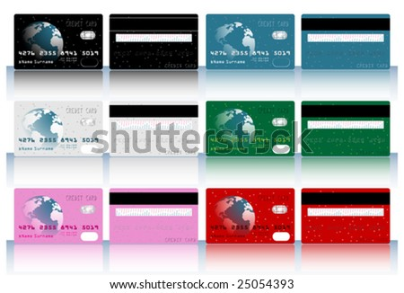 Collection of different colored credit cards for banks. - stock vector