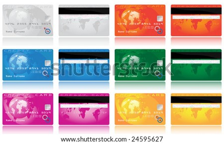 Collection of different colored credit cards for banks. To see similar please visit my gallery - stock vector