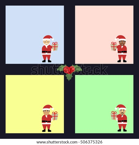 Collection of different colored sheets of note papers with different Santa Claus, ready for your message. Vector illustration. Modern flat design.