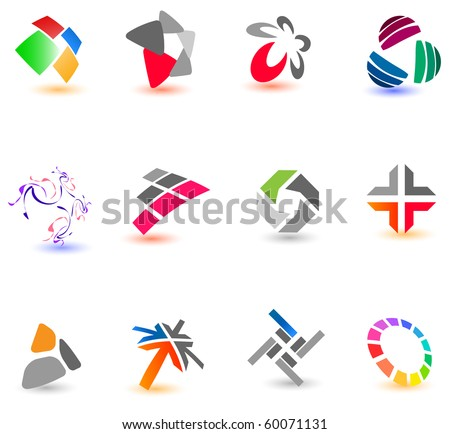 Collection of different colorful icons for your design (Part 16). Please visit my gallery to see similar. - stock vector