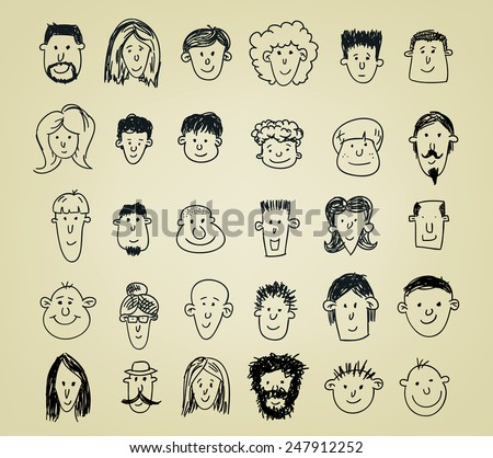 collection of different doodled character heads in various expressions - stock vector
