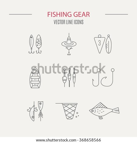 Collection of different fishing gear made in modern line style vector. Bobber, tackle, floater, rod, boat and other fishermans gear. Outdoor activity symbols. Vectpr fishing equipment collection. - stock vector