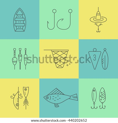 Collection of different fishing gear made in modern line style vector. Bobber, tackle, floater, rod, boat and other fishermans gear. Outdoor activity symbols.  - stock vector
