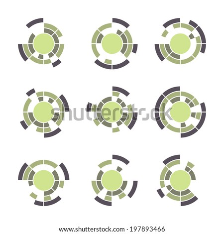 Collection of different graphic elements for design. Technology symbol set. - stock vector