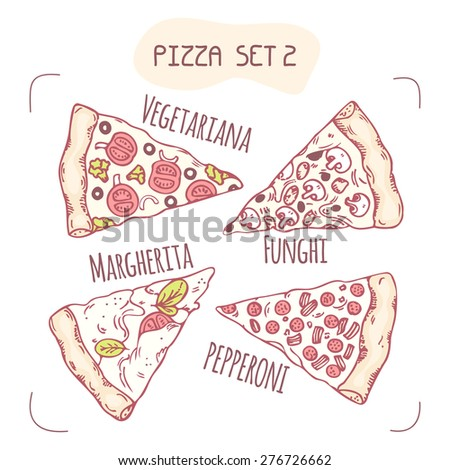 Collection of different hand drawn pizza slices in vector. Sketched food illustration - stock vector