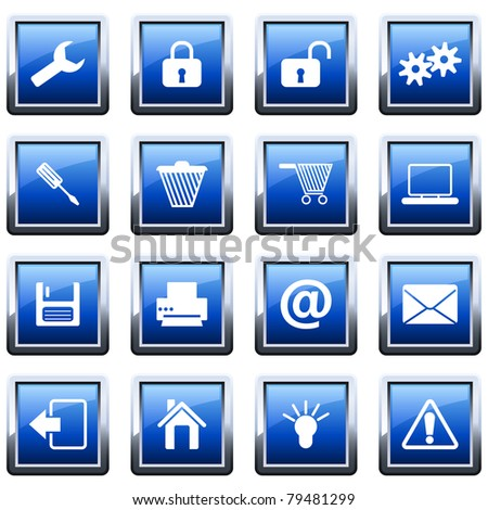 Collection of different icons for using in web design - stock vector