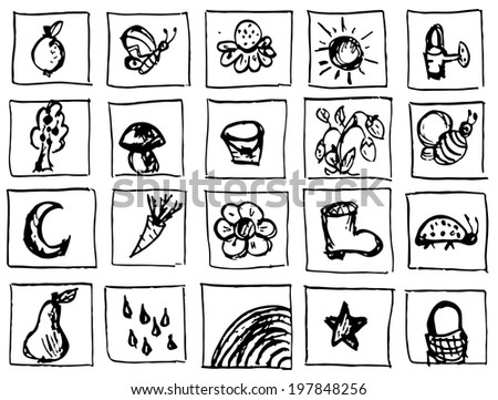 Collection of different ink icons and symbols. - stock vector