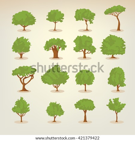 Collection of different kinds of deciduous trees illustrations in flat, simple style - stock vector
