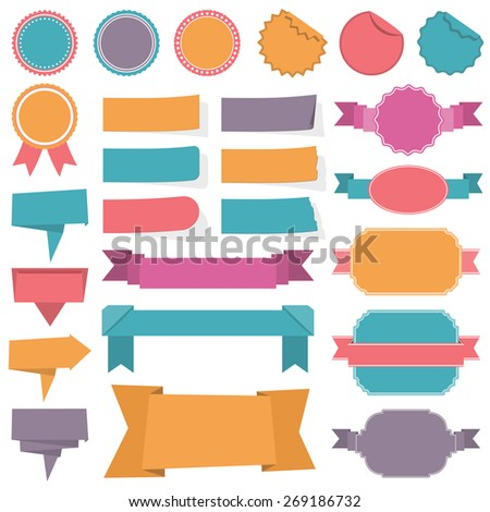 Collection of different labels, banners and ribbons, vector eps10 illustration - stock vector