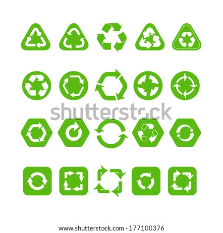 Collection of different recycle icons isolated on white - stock vector