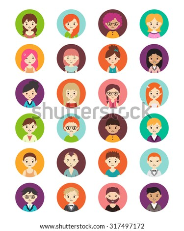 Collection of different round avatars with men and women. Vector illustration with cute men and women, flat style. Men and women in different dress styles. - stock vector