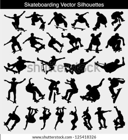 Collection of 30 different skateboarder vector silhouettes - stock vector