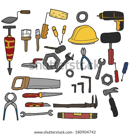 collection of different tools hand drawn-stock vector-