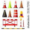 Collection of different traffic cones, drums, posts and safety barriers - stock vector