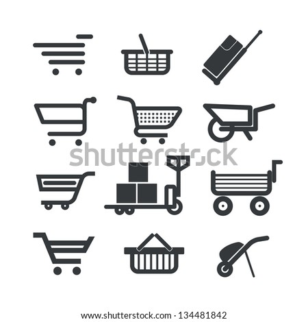 Collection of different trolleys and carts isolated on white - stock vector