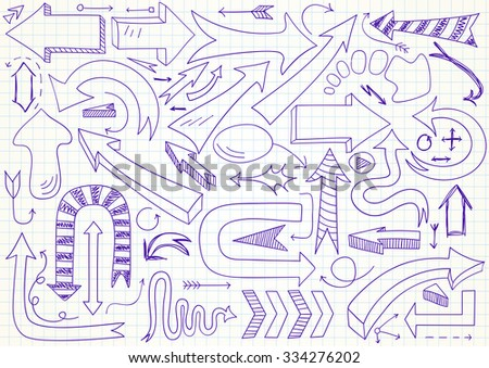 Collection of 61 different vector doodle arrows. Can be used for web design - stock vector