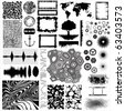 Collection of different vector shapes and patterns for designing - stock