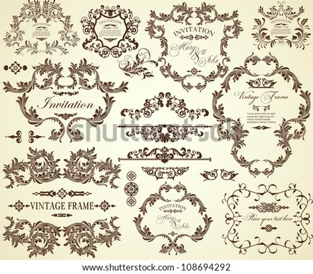 Collection of different vintage frames and text separators - stock vector
