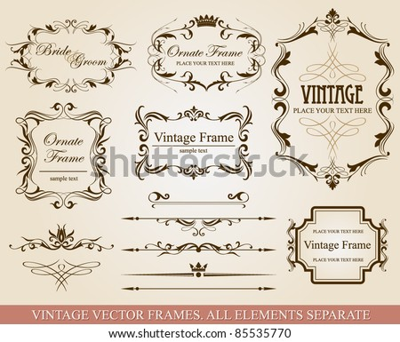Collection of different vintage frames, vector illustration, all elements separate - stock vector