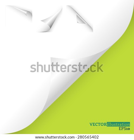 Collection of different white curled corners on the green background shadowed. Vector illustration. - stock vector