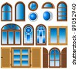 Collection of different windows - stock vector