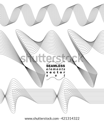 Collection of dimensional motif elegant flowing curves, light background in motion, majestic design seamless backdrop. Curved flexible isolated elements. - stock vector