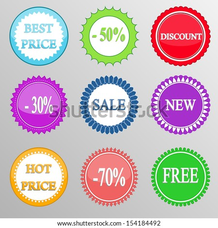 Collection of discount labels. Vector