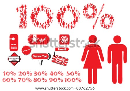 collection of discount numbers - stock vector