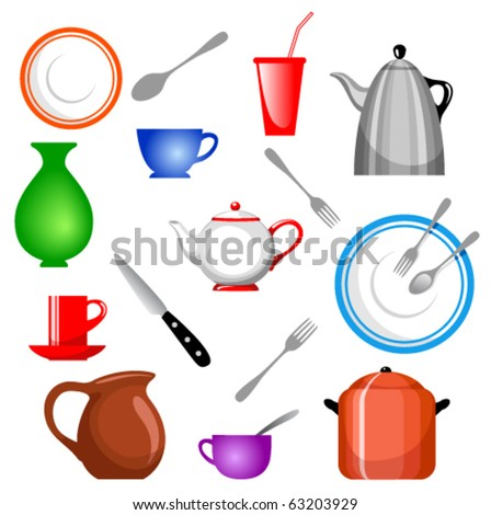 Collection of dishware - stock vector