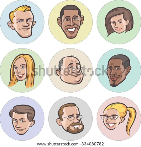 Collection of diverse cartoon vector people faces - stock vector
