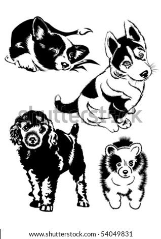Collection of dogs. The Black-and-white illustration. - stock vector