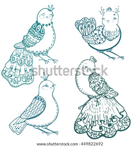 Collection of doodle birds for beautiful design, Vector - stock vector