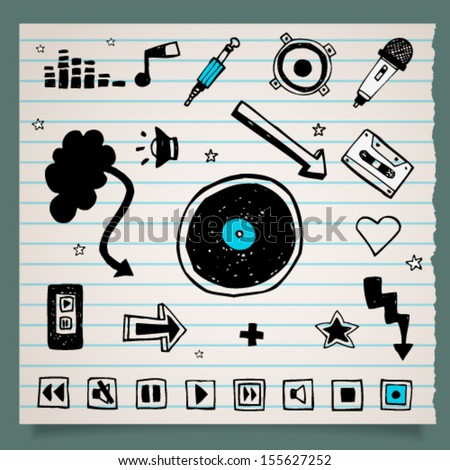 Collection of doodle black and white music icons on striped paper sheet background with multiplied shadow, set 2. Image contains transparency, EPS 10 - stock vector