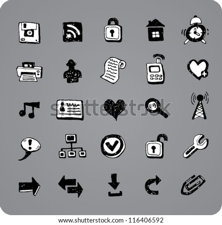 Collection of doodle black and white web and office icons isolated on gray background