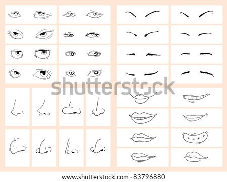 Collection of doodle drawing separated face - stock vector