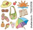 Collection of doodle icons set on summer female vacation theme - stock vector