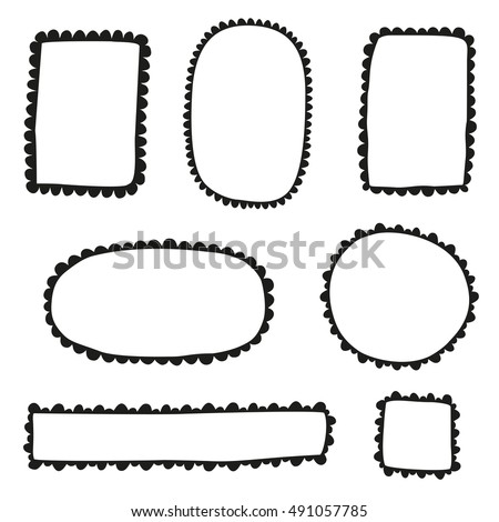 Collection Doodle Scalloped Frames Stock Vector 491057785 - Shutterstock