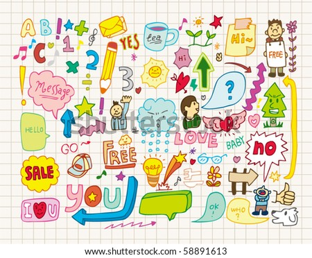 collection of doodles(hand draw) - stock vector