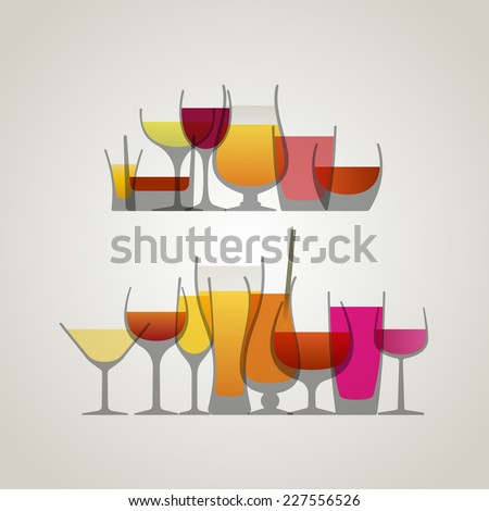 Collection of drinks, eps10 vector - stock vector