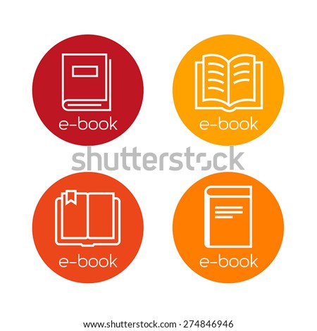 Collection of e-book download icons. Thin lines design. - stock vector