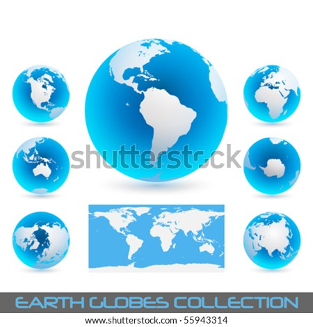 collection of earth globes isolated on white, vector illustration - stock vector