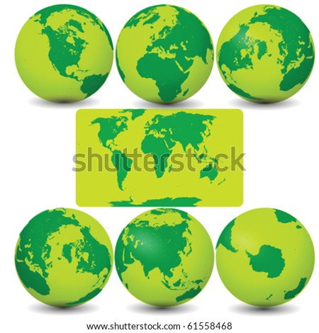 Collection of Earth Globes Vector - stock vector