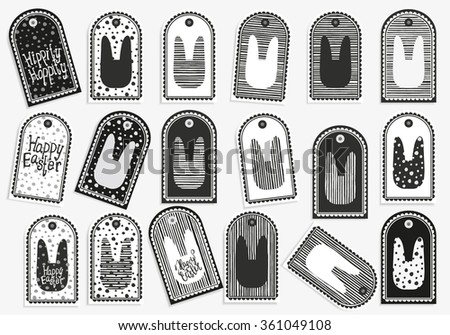 Collection 18 easter gift tags happy stock vector 361049108 collection of 18 easter gift tags happy easter set of cute printable hand negle Gallery