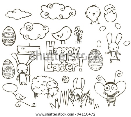 Collection of Easter related doodle. - stock vector