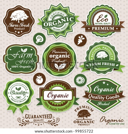 Collection of eco and bio labels, badges and icons - stock vector