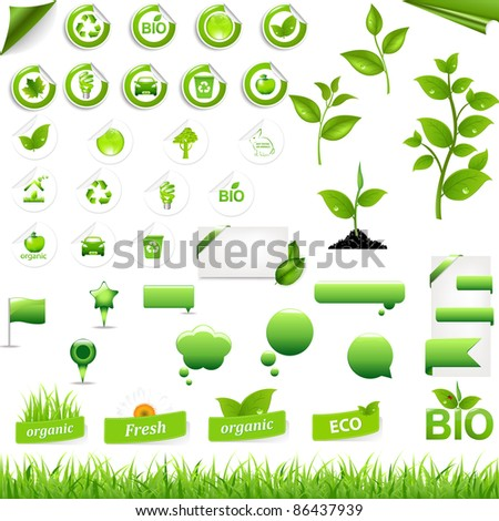Collection Of Eco Elements, Isolated On White Background, Vector Illustration - stock vector