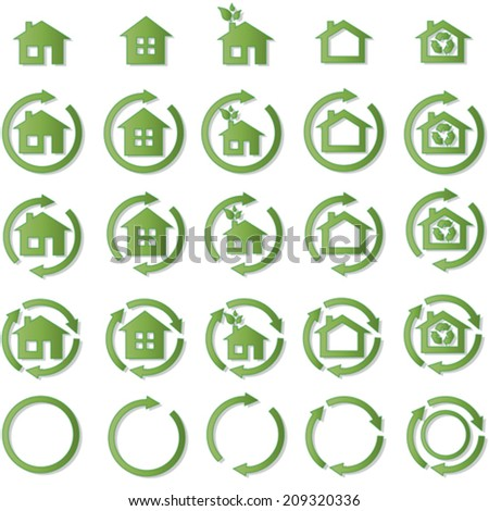 Collection of ecohouse vector icons illustrating environmental concept  - stock vector