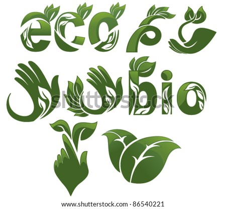 collection of ecological symbols - stock vector
